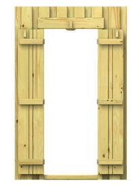 Ściana drewniana z drzwiami